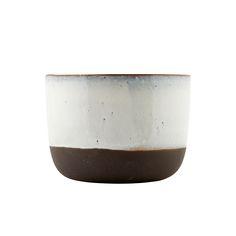 Bumentopf Glaze Glasierter Keramik Übertopf in Black/White, Medium