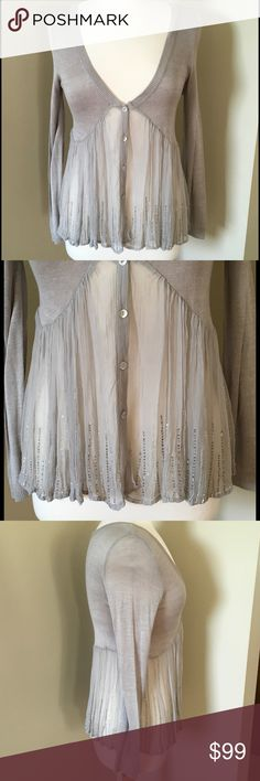 Chan Luu Embellished Chiffon Cardigan Excellent condition with no signs of wear. This is a gorgeous, lightweight sweater/Cardigan with the bottom half made of beaded Chiffon. Size is XS, but would probably fit a small as well--it is not a tight fitting top. 100% viscose, dry clean only. Chan Luu Sweaters Cardigans