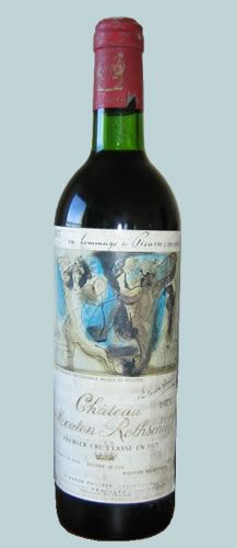 chateau mouton rothschild 1973 printed label - bacchanales by Picasso
