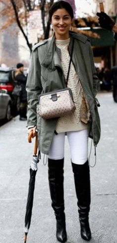 Caroline Issa- great idea for white pants in the winter