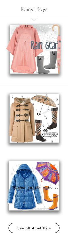 """Rainy Days"" by tailormadelady ❤ liked on Polyvore featuring Boots, raincoat, styleicon, trendsetters, Hunter, Hatley, maurices, Burberry, WALL and luxury"