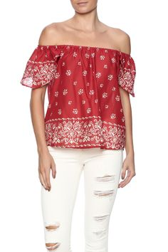 Red bandana off the shoulder top with an elastic bust andsplit back.   Red Bandana Top by Christophe Sauvat. Clothing - Tops - Off The Shoulder Clothing - Tops - Short Sleeve Clothing - Tops - Blouses & Shirts Florida