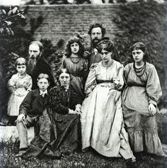Sir Edward Coley Burne-Jones, 1874,  with William Morris and their families.