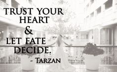 Trust your heart and let fate decide. -Tarzan