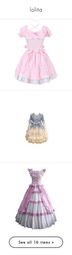 """lolita"" by annaverdina ❤ liked on Polyvore featuring dresses, lolita, skirts/dresses, flutter-sleeve dress, frilled dress, pink frilly dress, bow dress, flounce dress, long-sleeved dresses and short dresses"