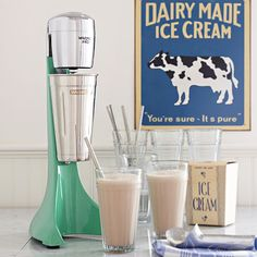 Retro Green Drink Mixer soda fountain style. Made of durable die cast metal and stainless steel, this 2-speed, retro styled mixer. #kitchen #dining #gadgets #appliance #Mixer #retro #sodafountain #milkshake #malt #blender