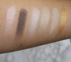 Swatches of Maybelline 24karat Nudes Palette. adiaadores.com