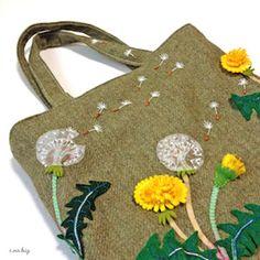 タンポポ ノ バッグ / Dandelion felt embroidery mini bag - e.no.bag フェルトと刺繍