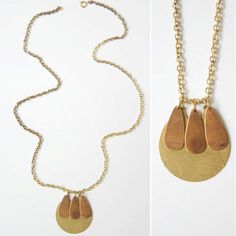 Vera // eco friendly handmade in USA necklace - Materials: vintage brass, vintage gold plated chain, vintage brass circle pendant. $35.00