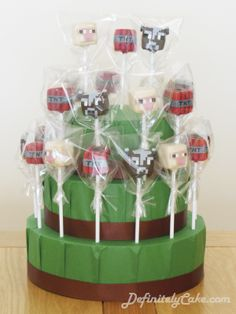 Minecraft Cake Pop Display.  Cows, Sheep and TNT Cake Pops