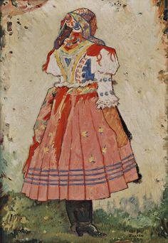 Ľudovít Fulla - Žena z Tulčíka Folk Costume, Costumes, Folk Embroidery, Art Boards, Illustrators, Boho, Artist, Prints, Celebrity