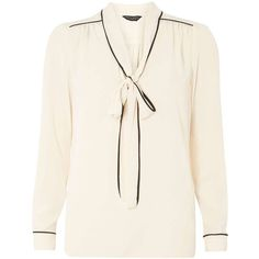 Dorothy Perkins Pink Bow Detail Blouse ($45) ❤ liked on Polyvore featuring tops, blouses, pink, bow top, bow blouse, white top, pink top and bow shirt