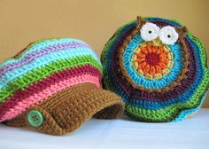 colorful slouch owl hat with visor and buttons pattern
