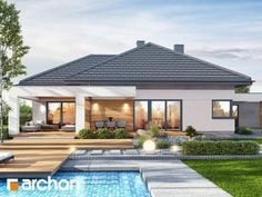 Dom w nigellach 2 Free House Plans, House Layout Plans, House Plans Mansion, Bungalow House Plans, Modern Pool House, Modern House Plans, Residential Building Plan, House Plans Australia, One Storey House