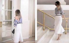Malheureusement, la plupart des dernières tendances, présentées sur les podiums de mode, ne sont pas toujours applicables à la vie de tous les jours ou au look de bureau classique. Mais les blogueuses de mode créatives ont inventé une nouvelle manière de porter les vêtements de son inventaire déjà existant. L'une des dernières tendances mode de la saison 2017, surtout en termes de street style pour l'été, est porter une chemise femmeà l'envers, partiellement déboutonnée, pour ainsi obtenir…