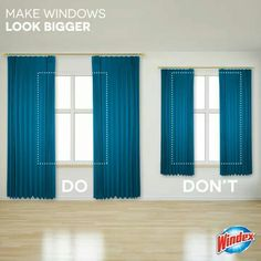 Make small Windows look bigger by hanging curtains higher and wider Grote ramen, kleine ramen, Ikea Curtains, Small Window Curtains, French Curtains, Boho Curtains, Green Curtains, Rustic Curtains, Floral Curtains, Curtains Living, Colorful Curtains