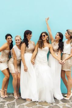 Mix and Match Bridesmaids in Gold Sequins and white! See more: Gorgeous Rustic Cream and Gold Carnival Wedding