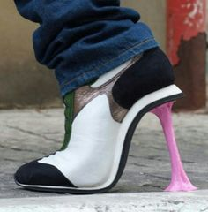 Awesome heels so cool looks like gum stuck to the bottom of a tennis shoe!