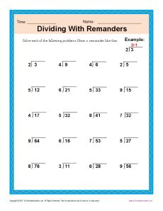 division worksheet 1 with remainders | Long division | Pinterest ...
