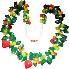 Hard Plastic Necklace - Strawberries and Other Fruit with Green Translucent Leaves