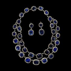 Necklace and earrings, ca. 1850. English. Sapphires, diamonds, silver and gold. V & A Museum.
