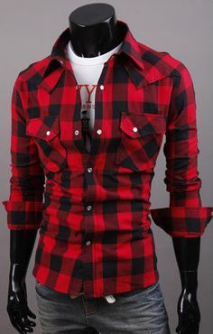 Vintage Plaid Check Long Sleeve Shirt Slim Fit