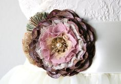 Fabric Flower Pin - Eggplant Purple and Pink with Vintage Pearl Jewel