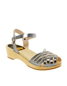 Swedish Hasbeens Braided Silver Low Wedge Sandals