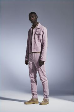 Making a case for monochromatic style, Myles Dominique wears an outfit from Missoni.