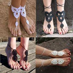 Fashion Barefoot Sandals Crochet Cotton Foot Anklet Bracelet Ankle Chain