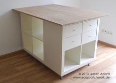 IKEA Hackers: New customized sewing room cutting table. I could also use it for my larger drawing sets and rolled drawing storage. Ikea Sewing Rooms, Sewing Spaces, Fabric Cutting Table, Cutting Tables, Sewing Room Organization, Craft Room Storage, Hackers Ikea, Ikea Storage Cabinets, Ikea Cupboards