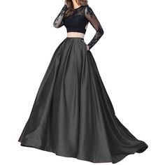 Lisong Women Floor Length High Waisted Taffeta Party Skirt 2 US Black