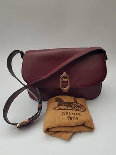a31866db2a CELINE Bag. Céline Vintage Burgundy Leather Shoulder bag. French designer  purse