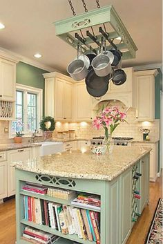 Charming+Kitchen+with+Hanging+Pots+and+Pans+Rack