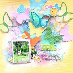 This fun spring layout was created using the Bella Blvd - Barnyard Collection available at Scrapbook.com.