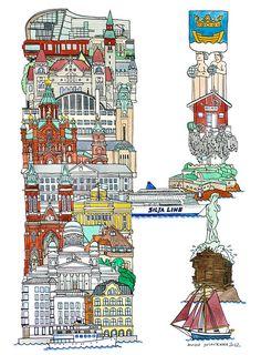 Helsinki - ABC illustration series of European cities by Japanese illustrator Hugo Yoshikawa