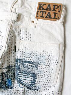 KAPITAL How To Patch Jeans, Minimal Dress, Denim Art, Layered Fashion, Japanese Denim, Denim Patchwork, Denim Outfit, Denim Fashion, Fashion Details
