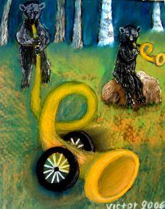 Björnar spelar trumpet, pastell på papper. Bears play the trumpets, pastel on paper.