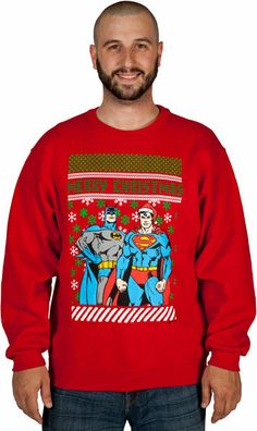 Batman Superman Christmas Sweater Faux