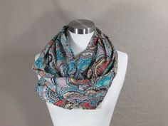 Infinity Scarf in Multicolored Print Handmade Lightweight Scarf Spring Scarf Summer Scarf
