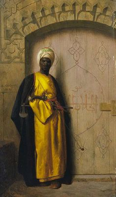 "leseanthomas: Mind-blowing oil paintings by Austrian/Jewish painter, LUDWIG DEUTSCH, LEON GEROME & RUDOLF ERNST in the late 1800s: The subject, ""The Palace Guard"" were depictions of North African medieval Muslims, THE MOORS, who settled in & ruled Northern Africa and invaded and conquered many parts of what we would now consider ""Southern Europe (Spain, Portugal, France & Southern Italy-ala Sicily)"" for nearly 800 years, from as early as the 7th to the 15th century. Their ..."