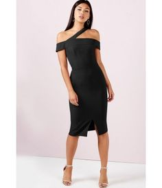 Girls on Film One Shoulder Split Midi Dress in Black