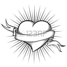 Herz mit Band im Tattoo Style  Stockfoto