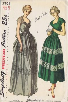 "VINTAGE EVENING DRESS 1940s SEWING PATTERN SIMPLICITY 2791 BUST 29 HIP 32"" CUT 