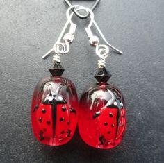 Lady Bug Earrings for Tina from GeekandChic Creations Red Earrings, Etsy Earrings, Earrings Handmade, Handmade Jewelry, Black Spot, Red Black, Ladybug Jewelry, Ladybug Art, Class Decoration