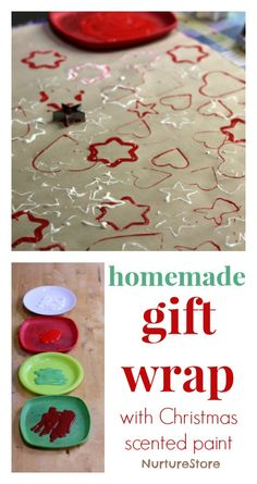 Homemade gift wrap using Christmas scented paint :: Christmas crafts for kids using homemade paint recipe