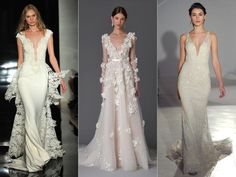 Deep V plunging necklines... Definitely in. Top Wedding Dress Trends From Spring 2017 Bridal Fashion Week (Watch!) | TheKnot.com
