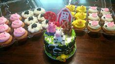Farm animal cake and cupcakes. Pig cupcakes. Cow cupcakes.  Sheep cupcakes.  Chick cupcakes
