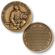 Firefighter In Prayer Challenge Coin