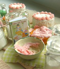 Baking a cake miniature table
